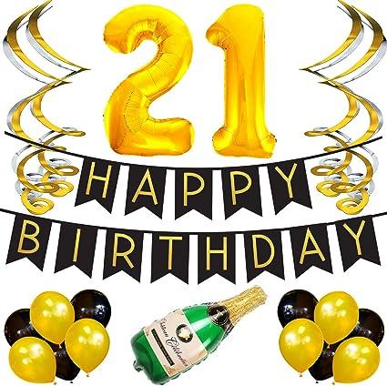 Amazon.com: Paquete de fiesta para cumpleaños 21 ...