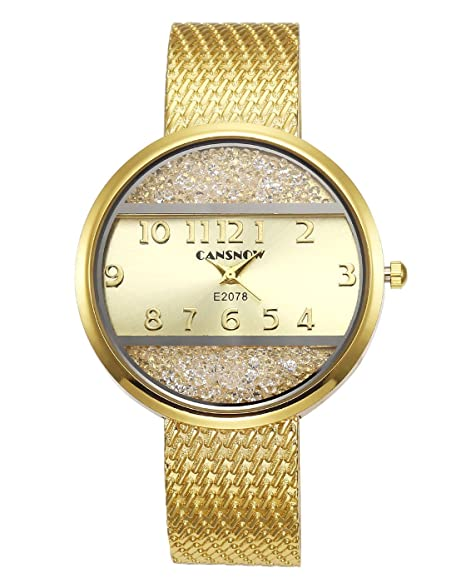 jsdde Relojes Mujer Reloj De Pulsera Chic Manguito Brillantes Mujer Reloj Redondo Horquillas Reloj Pulseras Cuarzo