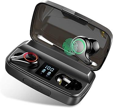 Auriculares Bluetooth, Donerton Estéreo Auriculares Inalámbricos Bluetooth 5.0 con Micrófono Integrado, Auriculares Inalámbricos Deporte con 2000mAh Pantalla LED Caja de Carga, para iPhone y Android