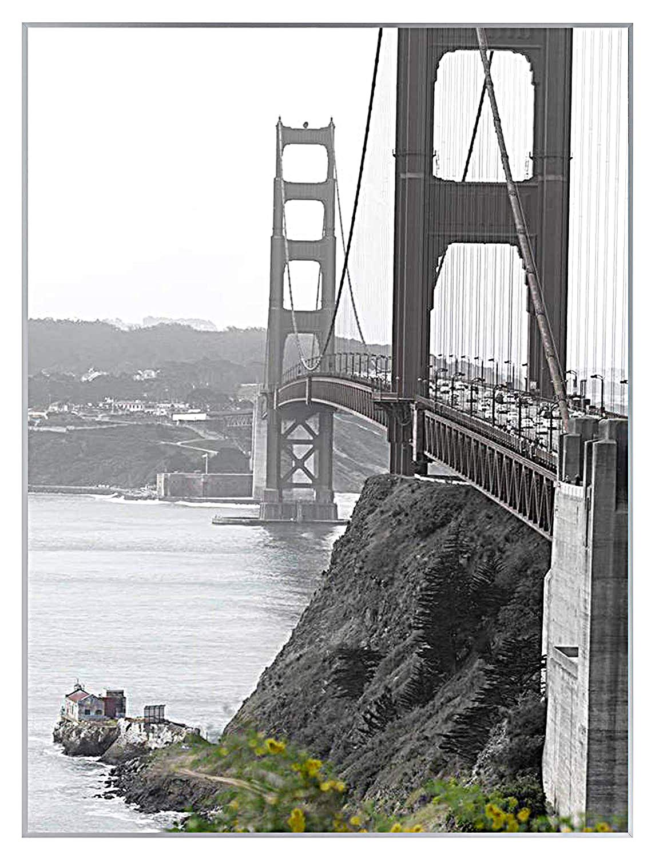 Frametory, 18x24 Metal Art Wall Frame, Aluminum Photo Frame Real Glass Front (Silver)