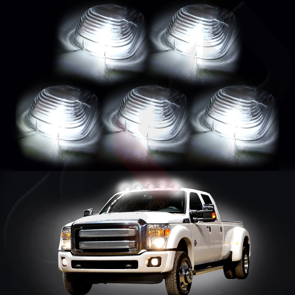 Cab Marker Light 5x T10-5-5050-SMD White Top Clearance Roof Running Bulbs with 5x Amber Cab Roof Light Covers//Lens Replacement Cab Marker Assembly for 1999-2011 Ford F250 F350 Pick Up W5W 194 168 2825