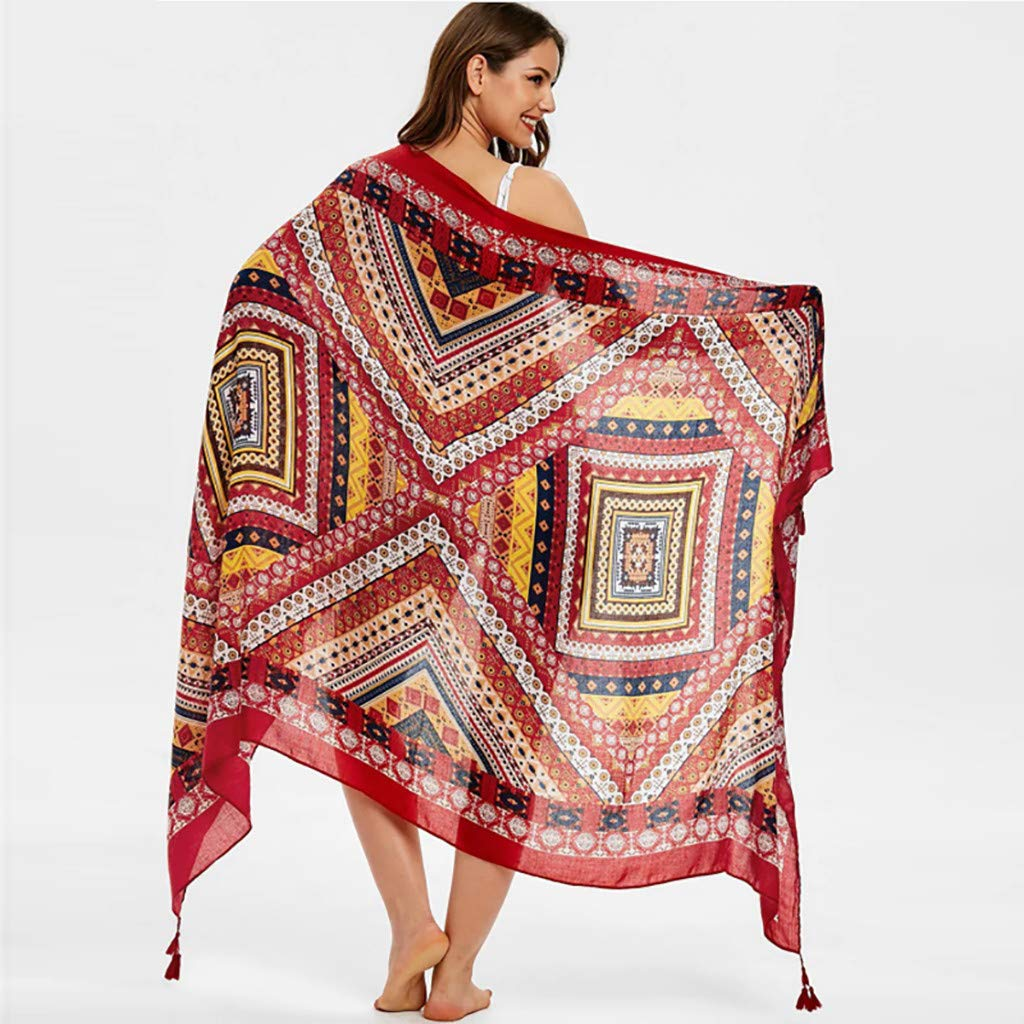 MoonHome Women Print Casual Scarf Long Shawl Gauze Holiday Silk Towel Beach Towel Scarf