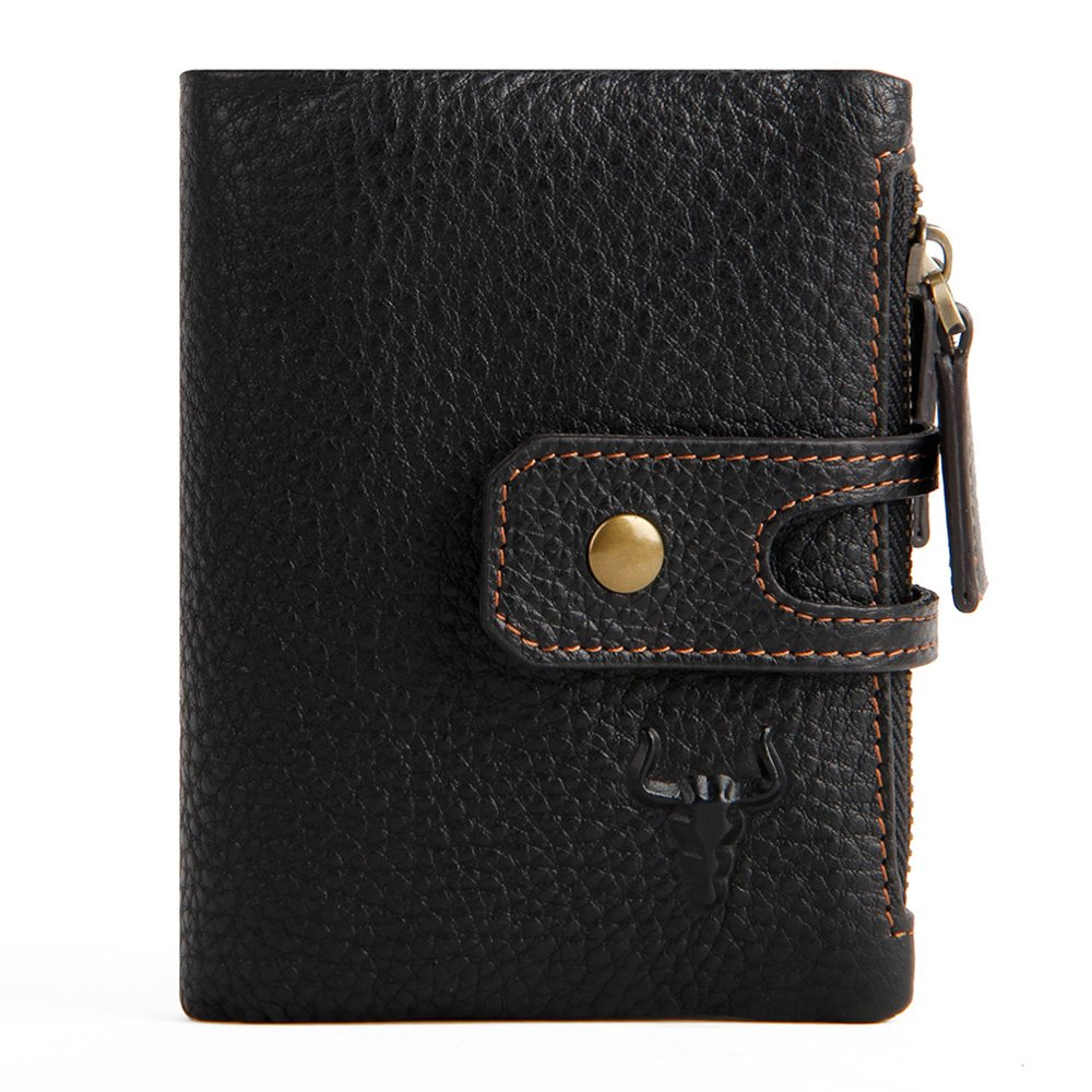 ce0006e08397 Men's Wallets With Zippers Leather Front Pocket RFID Wallets Mens Leather  Wallet Bifold With ID...