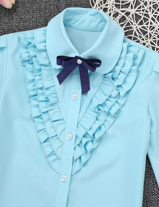 Freebily Camisa Niña Manga Larga Cuello Volante con Corbata Camisa Blanca Básica de Fiesta Evento Camiseta Casual Uso Diario Niña Infanta Azul Cielo 4-5 Años: Amazon.es: Ropa y accesorios
