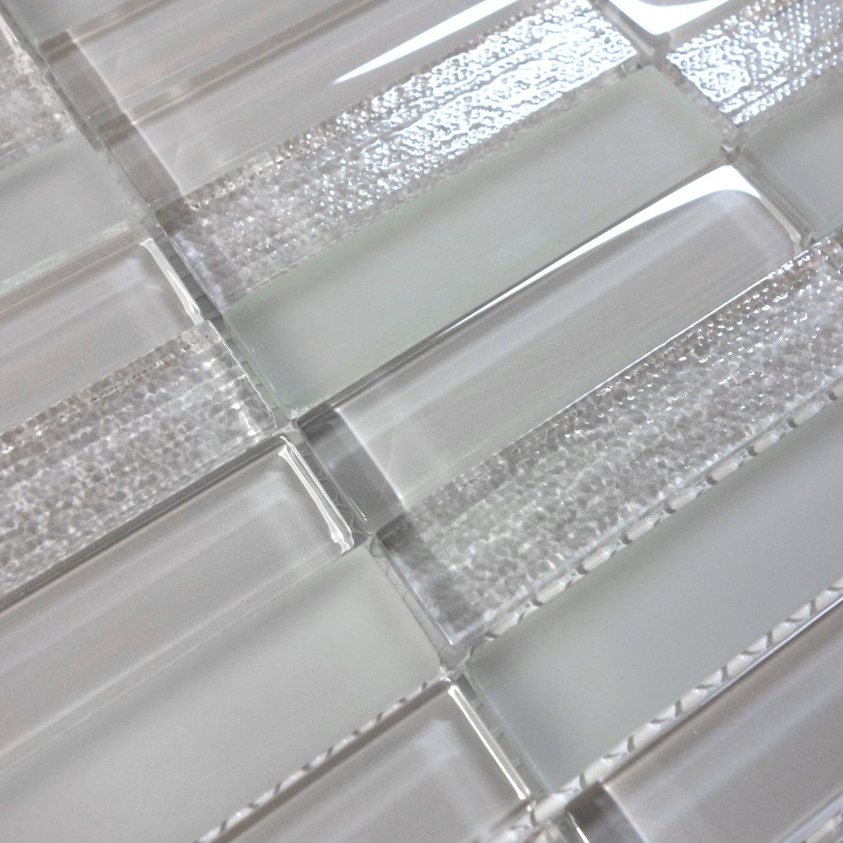 Modket TDH231MO-S Sample Modern Gray Crystal Glass Blend Texture and Matted Glass Mosaic Tile Backsplash