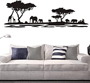Safari Africa Forest Animal Wall Decal Removable Vinyl Home Decor Wall Sticker Living Room Sofa Background Decor Sticker Decoration Interior Mural NY-228 (Black, 42x130cm)