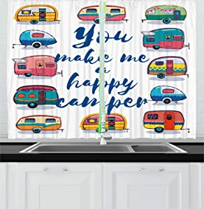 "Ambesonne Camper Kitchen Curtains, You Make Me Happy Camper Motivational Words with Caravans Retro Style Travel Graphic, Window Drapes 2 Panel Set for Kitchen Cafe Decor, 55"" X 39"", Multicolor"