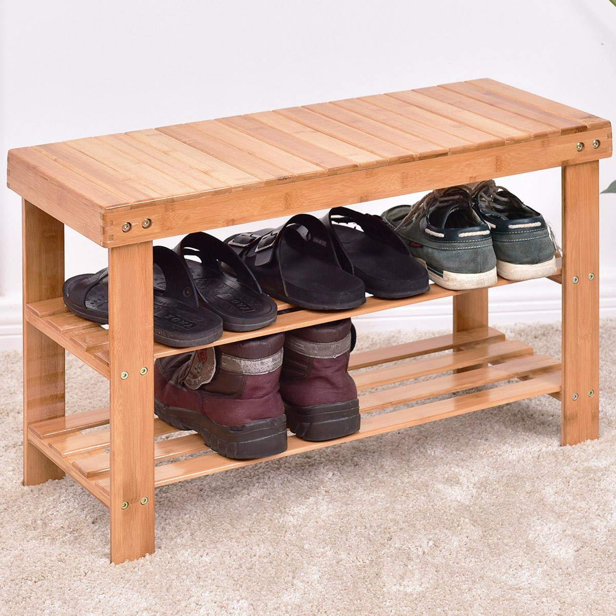 Goujxcy Bamboo Shoe Bench,3-Tier 10-Pair Bamboo Shoe Organizer,Storage Shelf Holds Up to 551 lbs,Ideal for Hallway/Bathroom/Living Room Wood Color by Goujxcy