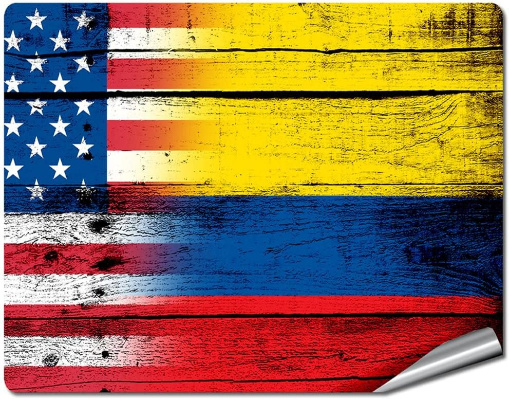 """8"""" x 10"""" Decal / Sticker/Skin with Flag of Colombia - Wood w USA Flag - UV Resistant - Outdoor Quality - Lasts for years"""