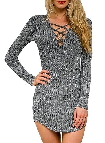 Futurino Women's Marled Lace Up Neck Long Sleeve Bodycon Knit Mini Dress