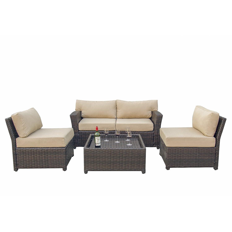 Amazon com caymus 5 piece rattan wicker sectional sofa set with sunbrella cushion outdoor garden patio furniture set khaki garden outdoor
