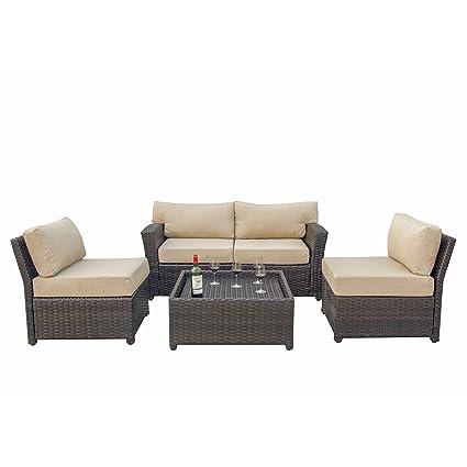 Surprising Caymus 5 Piece Rattan Wicker Sectional Sofa Set With Cushion Outdoor Garden Patio Furniture Set Khaki Creativecarmelina Interior Chair Design Creativecarmelinacom