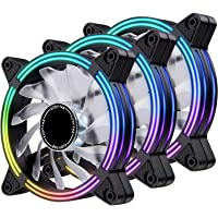 EZDIY-FAB 120mm Rainbow RGB LED Fans, LED Effect Case Fan for Computer Cooling 3-Pin -3pack