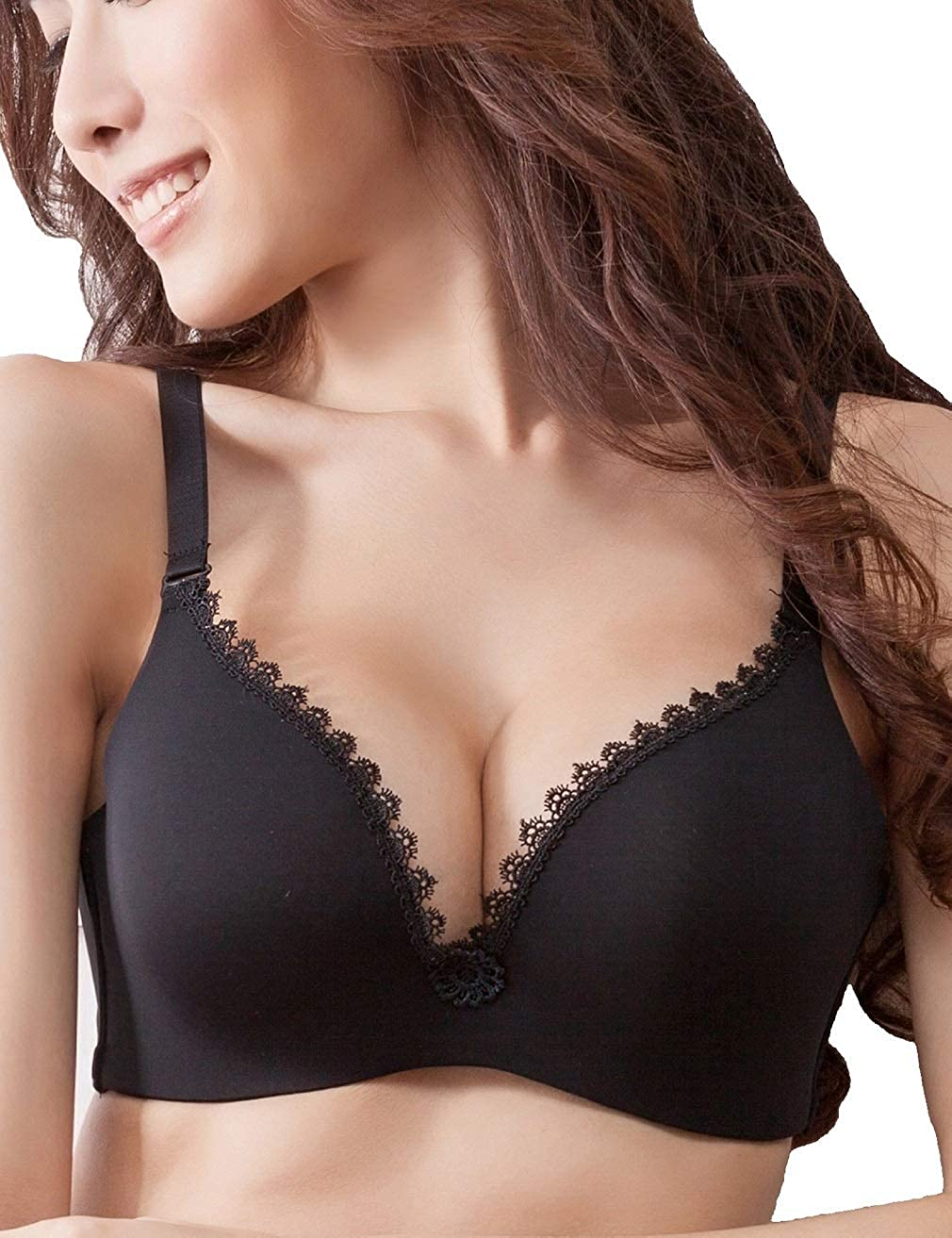 Nasse Women s Sexy Lace Wireless Push Up Bra Seamless Smooth Soft Memory  Padded T-Shirt Bras at Amazon Women s Clothing store  ab62521ae