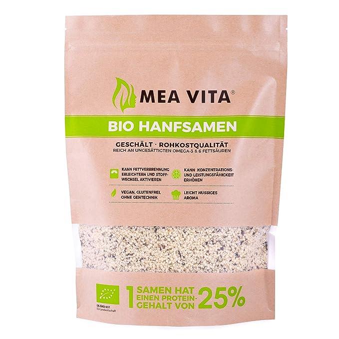 Meavita Semillas De Cáñamo Orgánico Meavita, Peladas, 1 Paquete (1 X 1 Kg) 1 Unidad 1000 g