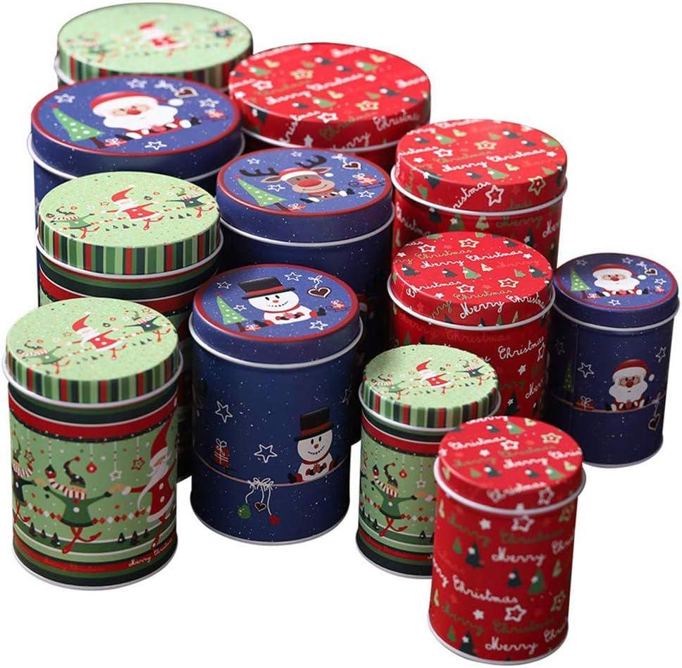 Highbeastbe Latas de Hojalata de Navidad Caja de Dulces Tarro de Almacenamiento Tarro de Galletas Tarro de Decoración de Dulces - Lindo para Decoración Navideña - Azul: Amazon.es: Hogar
