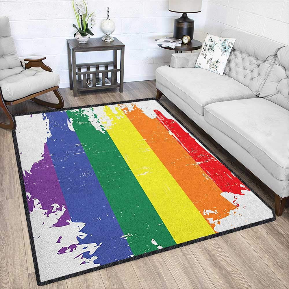 Vintage Rainbow Modern Area Rug with Non-Skid,Colorful Grunge LGBT Flag Design Worn Out Stripes of Paint Gay Culture Anti-Static,Water-Repellent Multicolor 79''x95'' by Philip C. Williams
