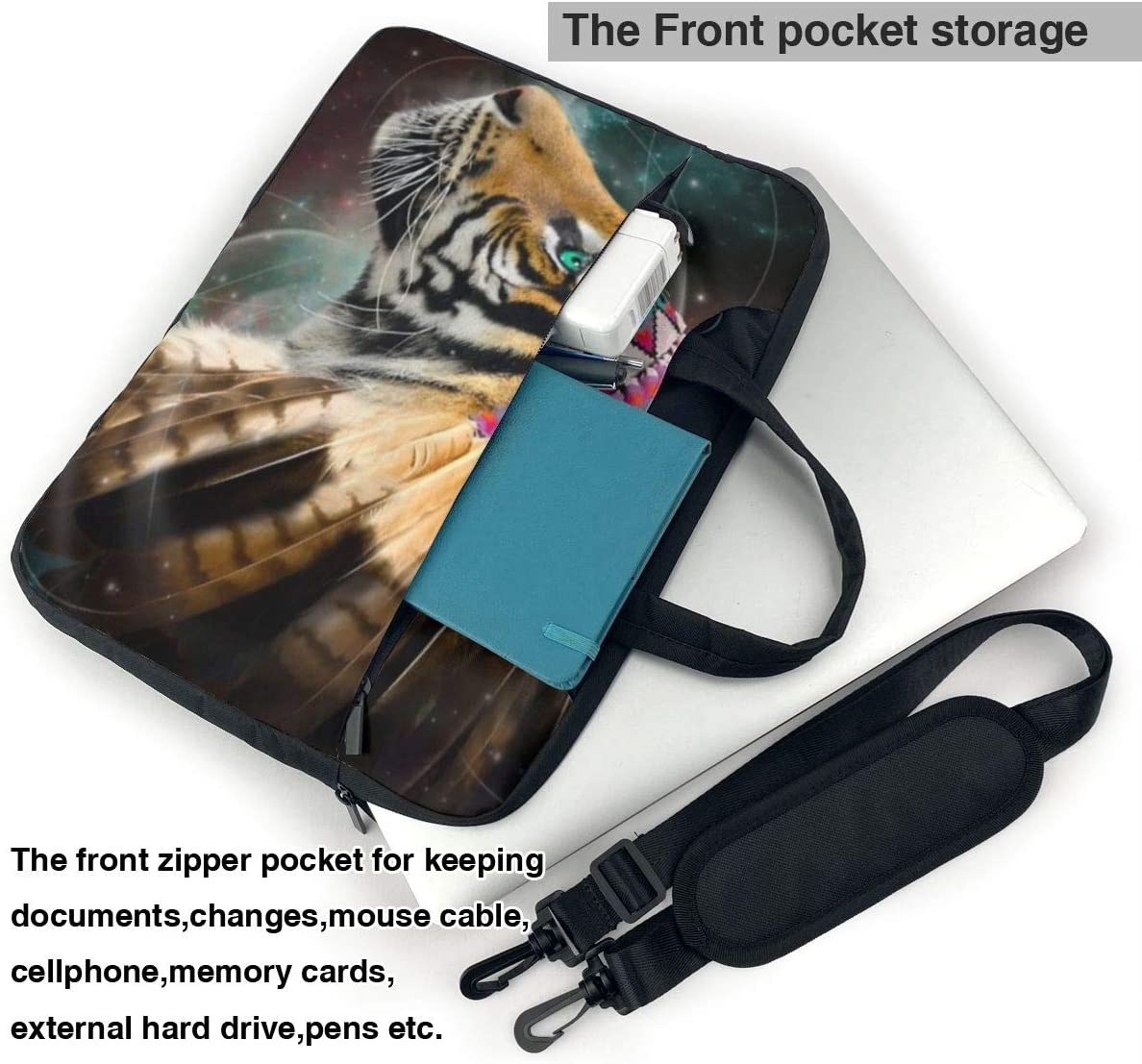 Undertale Annoying Dog Laptop Messenger Bag Indian Feather Tiger Shockproof Notebook Sleeve Protective Bag with Strap Compatible with MacBook Tablet Ultrabook 13 14 15.6