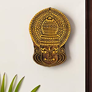 ExclusiveLane 'Kathakali Maquillage' Hand Carved Wooden Block Wall Décor In Sheesham Wood-Wooden Blocks For Fabric Printing Blocks Wall Decoration Items For Living Room Bedroom Wall Hanging Home Décor