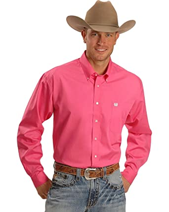 211f11688dc Image Unavailable. Image not available for. Color: Cinch Men's Solid Button-Down  Western Shirt Pink Medium