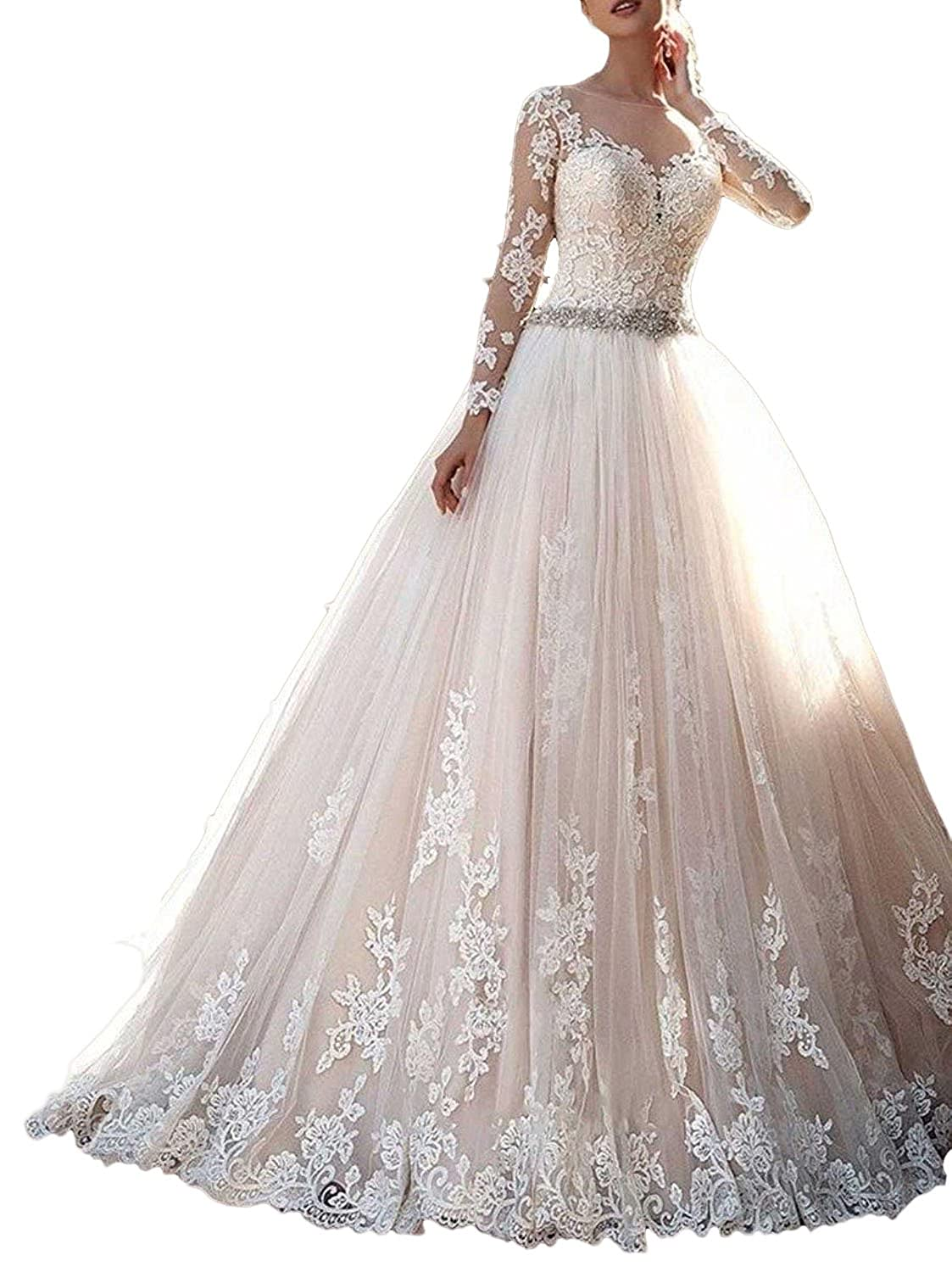 Baixia Long Sleeve Lace Crystal Wedding Dresses Bride Ball Gowns