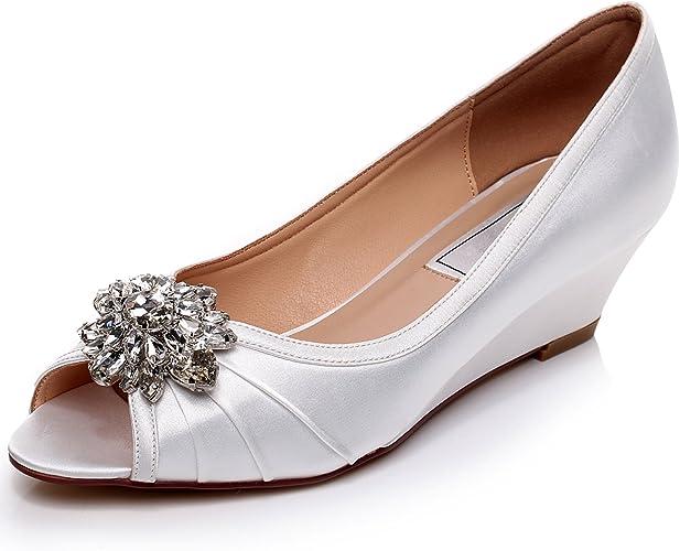 Ivory Low Heel Wedding Wedges Shoes