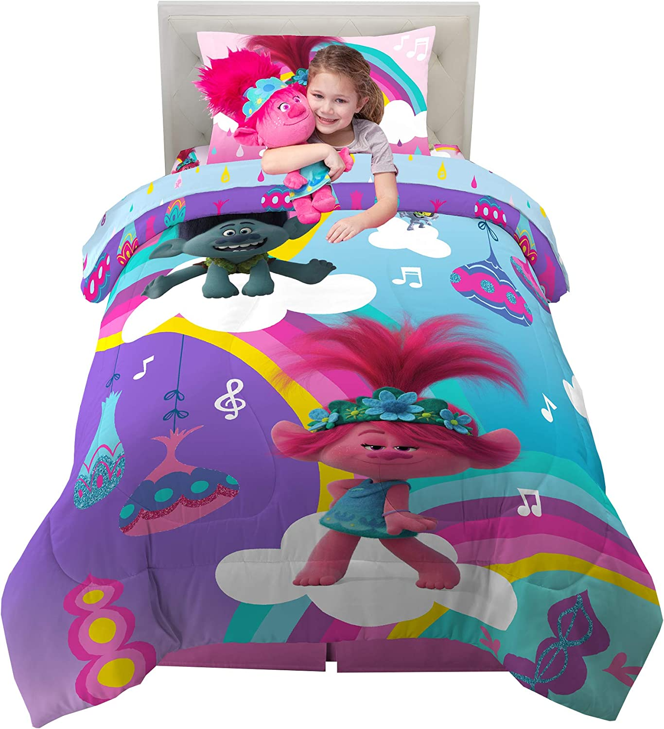 Franco Kids Bedding Super Soft Comforter with Sheets and Plush Cuddle Pillow Set, 5 Piece Twin Size, Trolls World Tour