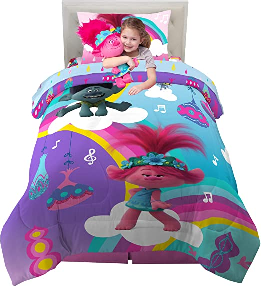 Franco Kids Bedding Super Soft Comforter With Sheets And Plush Cuddle Pillow Set 5 Piece Twin Size Trolls World Tour Amazon Ca Home Kitchen