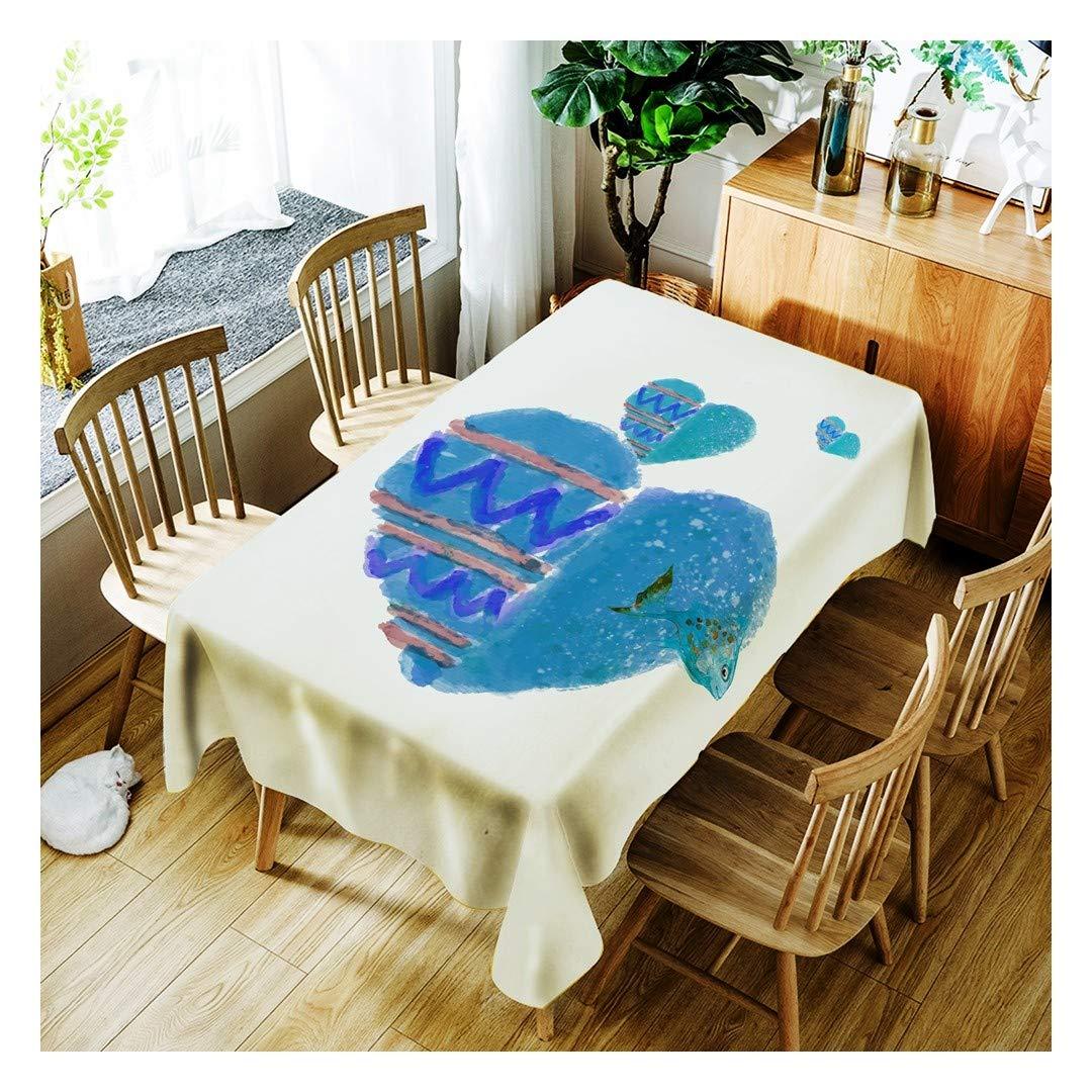 ZHAOXIANGXIANG Tabla Impermeable De Poliéster Impreso Digital Mat Dibujos Animados Peces con Forma De Corazón Patrón Decoracion Un Mantel,140Cmtimes;280Cm