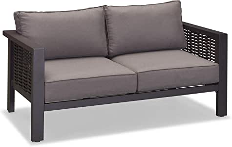 PURPLE LEAF Outdoor Loveseat, Aluminum Frame All-Weather Wicker with Deep Seating Sofa for Garden Backyard Deck Pool, Patio Loveseat
