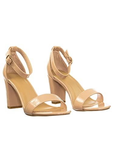 37120eca7c009 BAMBOO Women's Single Band Mid Chunky Heel Sandal with Ankle Strap, Nude  Patent PU,