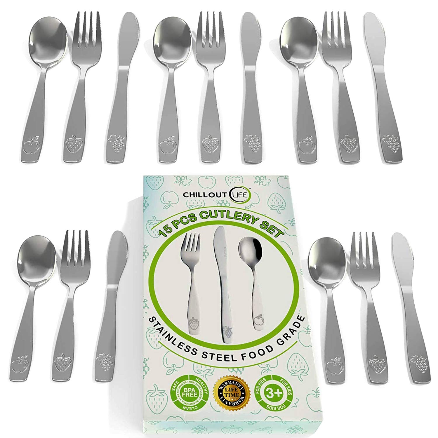 15 Piece Stainless Steel Kids Silverware Set | Child and Toddler Safe Flatware | Kids Utensil Set | Metal Kids Cutlery Set Includes 5 Small Kids Spoons, 5 Forks & 5 Knives 718MmvHPznL
