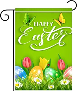 "ShineSnow Easter Colorful Eggs Butterflies Daisy Tulip Flowers Green Garden Yard Flag 12""x 18"" Double Sided Polyester Welcome House Flag Banners for Patio Lawn Outdoor Home Decor"