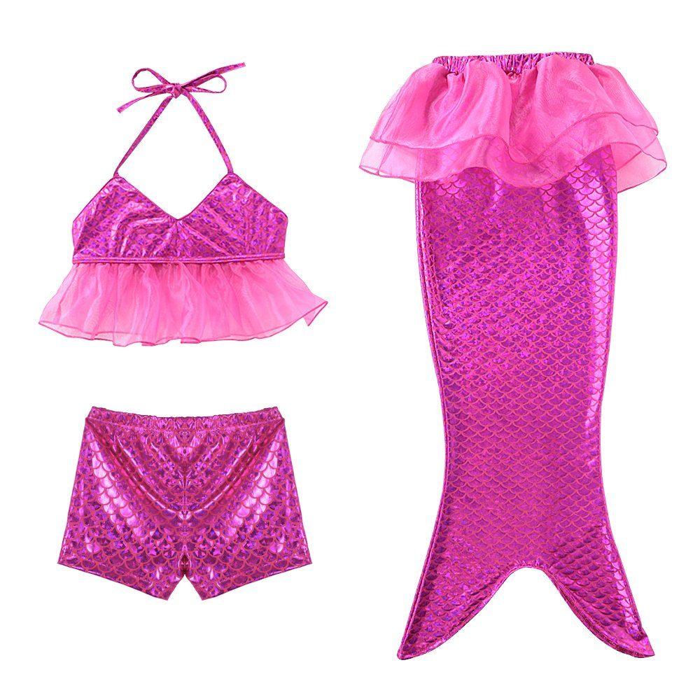 Little Girls Purple Sports Vest with Fin Swimmable Mermaid Tail Swimsuit Set