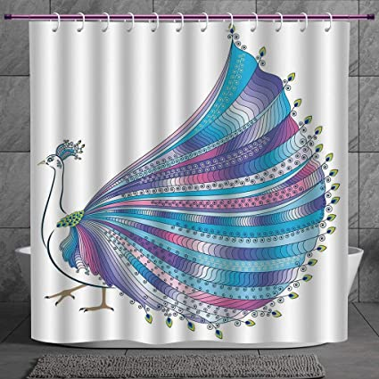 SCOCICI Funky Shower Curtain 20 AnimalExotic Abstract Peacock Figure With Stylized Feathers Graphic