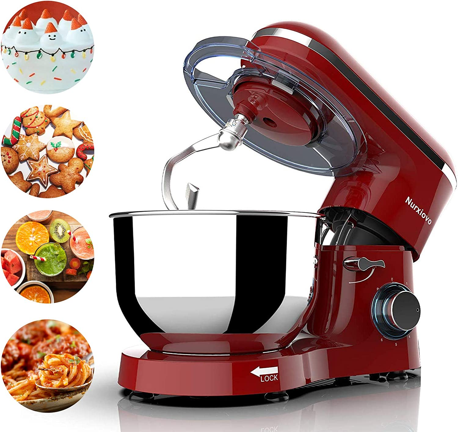 Nurxiovo 7QT Stand Mixer Kitchen,Tilt-Head 6-Speed Food Stand Mixer,660W Electric Mixer with Dishwasher Safe Dough Hook,Whisk,Beater,Splash Lid and Strong Suction Cups Red