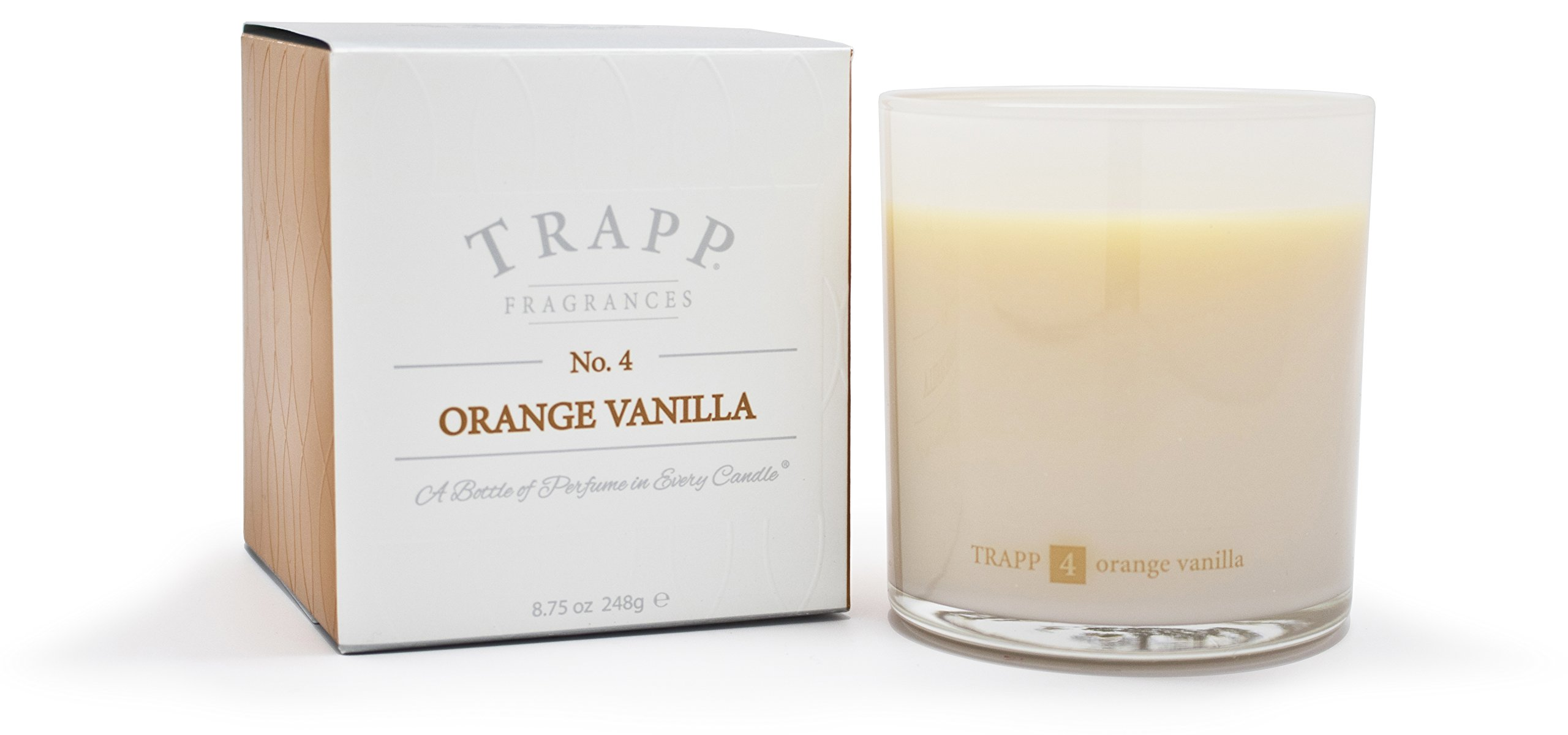 Trapp Ambiance Collection No. 4 Orange Vanilla Poured Scented Candle, 8.75 Ounces - Trapp poured candles are versatile, classic and fit beautifully into any decor. They fill a room with aromatic fragrance and create the perfect ambiance you desire. No. 4 Orange Vanilla - 8.75oz Trapp Scented Candle: The perfect combination of crisp orange notes elevated by the exquisite addition of Tahitian vanilla. SCENT NOTES: Brazilian Orange | Tahitian Vanilla - living-room-decor, living-room, candles - 718MnyFOOSL -
