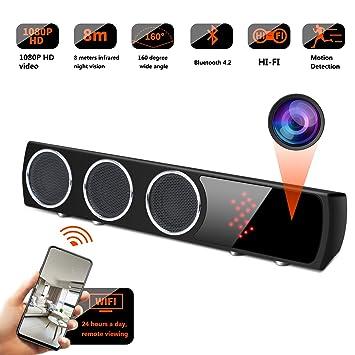 GSmade WiFi Oculto Cámara Altavoz Inalámbrico HiFi - IR Visión Nocturna Cámara espía Bajo Altavoz Mejorado