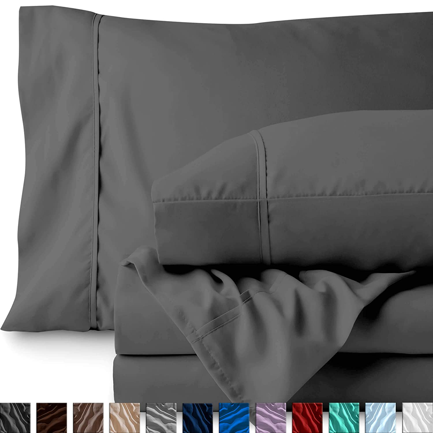 Bare Home Full XL Sheet Set - College Dorm Size - Premium 1800 Ultra-Soft Microfiber Sheets Full Extra Long - Double Brushed - Hypoallergenic - Wrinkle Resistant (Full XL, Grey)