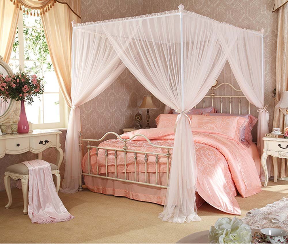 Mengersi 4 Corner Post Bed Canopy Mosquito Netting Canopies With Bed Frame Queen Size (Ivory, Queen)