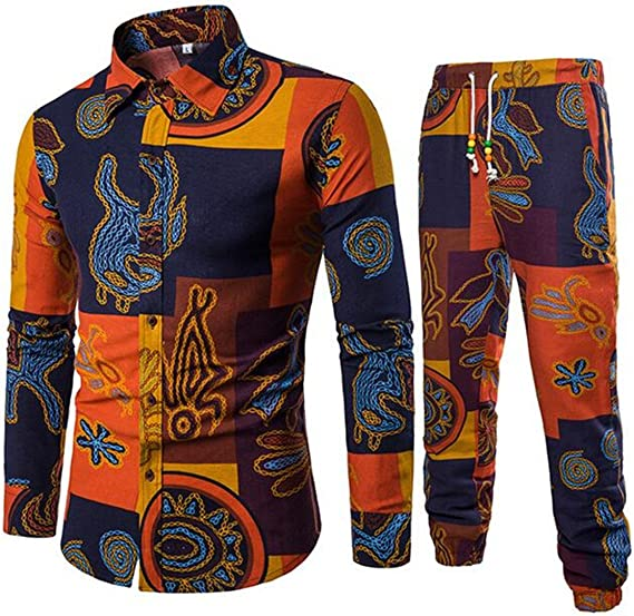 Winwinus Mens African Printing Leisure Plus Size Sweatshirt Pants Set