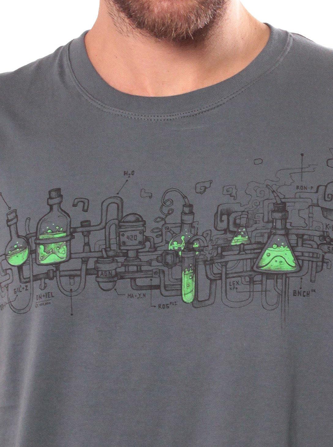 Street Habit Maglietta Crazy Scientist Cotone di qualit/à Maglietta a Manica Corta da Uomo