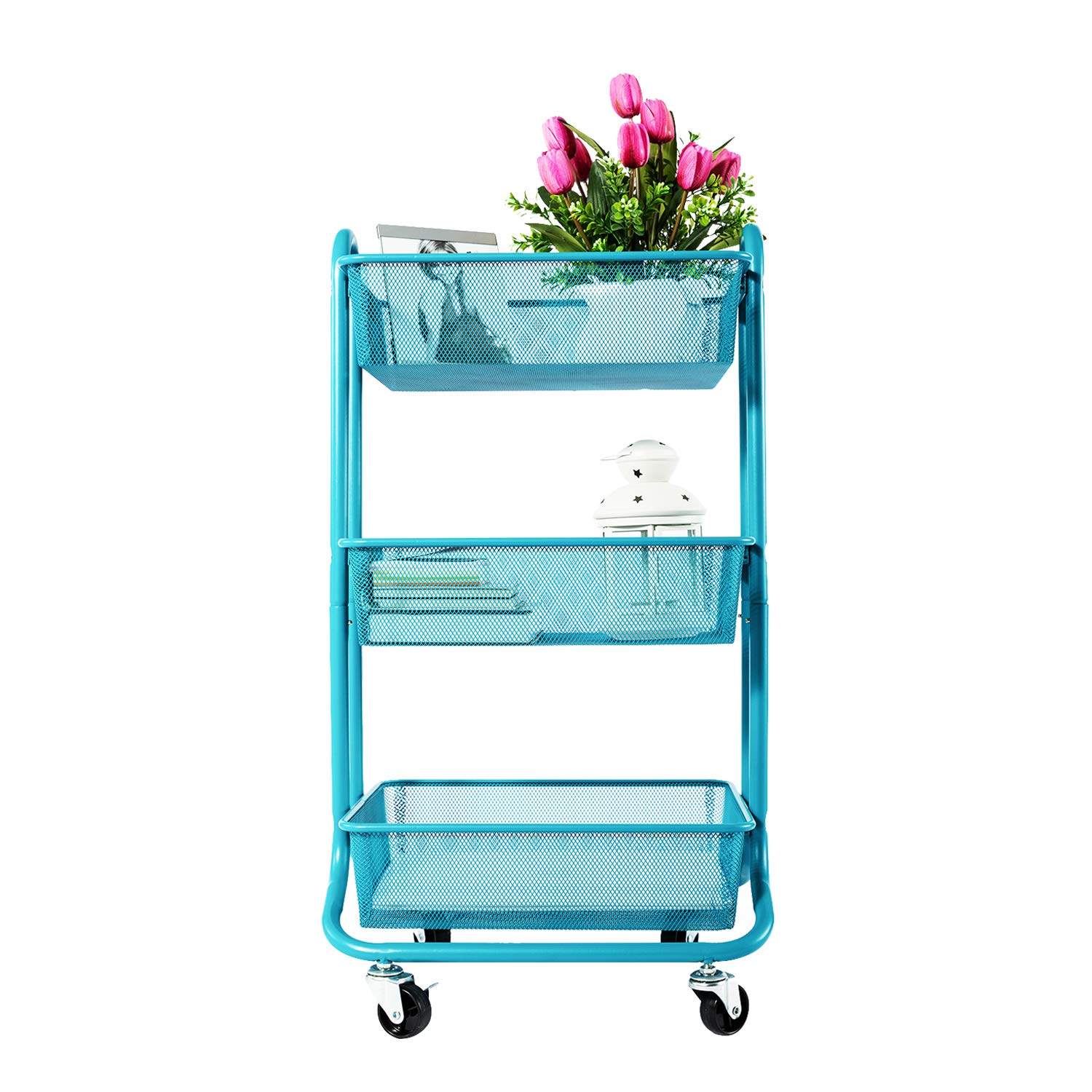 DESIGNA 3-Tier Mesh Utility Cart, Rolling Storage Art Carts with Handle Turquoise by DESIGNA