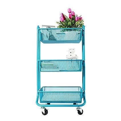 DESIGNA Carro de almacenaje enrollable de malla metálica de 3 niveles con asa de uso general