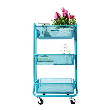 Designa 3 Tier Metal Mesh Rolling Storage Cart With Utility Handle, Turquoise by Designa