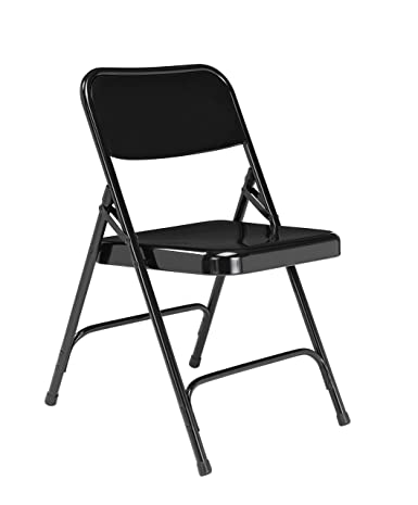 National Public Seating 200 Series All Steel Premium Folding Chair with Double Brace, 480 lbs Capacity, Black Carton of 4