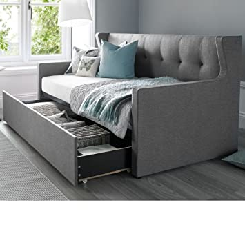 Daybed With Trundle Happy Beds Hunter Grey Fabric Modern Day Bed