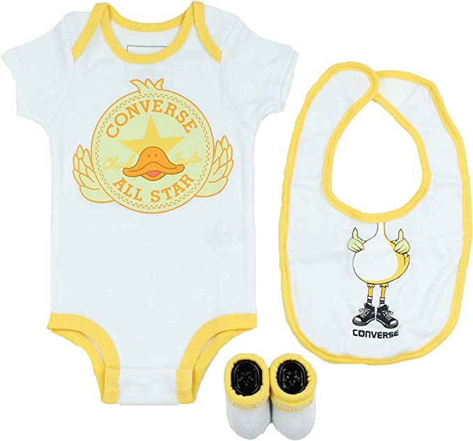 Converse Baby 3 Piece Layette Set (WhiteDuck (001), 0 6