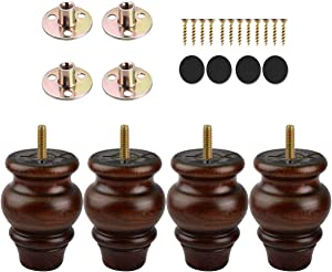 4 inch / 9cm Wooden Furniture Legs, La Vane 4PCS Glaze Soild Wood Spindle M8 Replacement Bun Feet with Pre-Drilled 5/16 Inch Bolt & Mounting Plate & Screws for Couch Table Sofa Cabinet