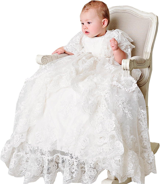 Aorme Lace Tulle Bonnet Long Christening Gowns Girls Baptism Dresses